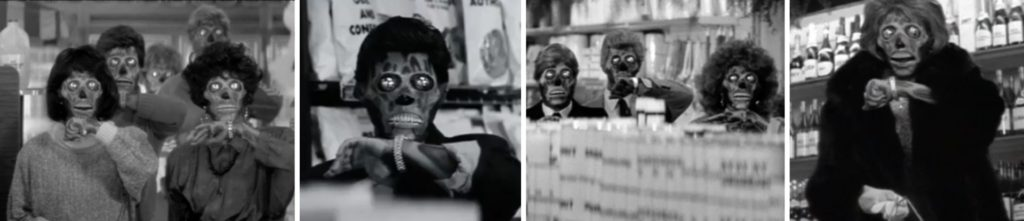 映画 ゼイリブ『THEY LIVE』マーケットにいる彼らたち。監督:ジョン・カーペンター,主役:ロディ・パイパー
